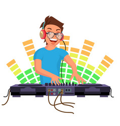 Professional dj playing disco house music vector