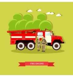 Red fire engine in flat vector