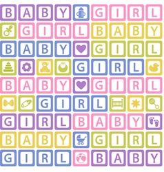 Seamless pattern with blocks baby girl vector