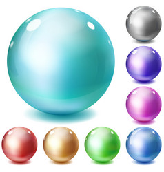 Set of multicolored glossy spheres vector image vector image