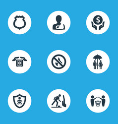 Set of simple warrant icons elements protect vector