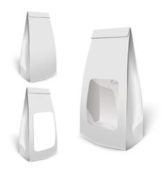 Set Of White Mockup Foil Food Bag Package vector image