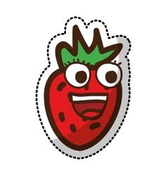 strawberry fruit character comic icon vector image