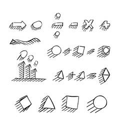Thin hand drawn arrows talk bubble geometric shape vector image