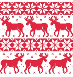 Winter red seamless pattern with reindeer vector image vector image