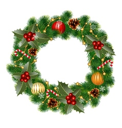 wreath with ornaments vector image vector image