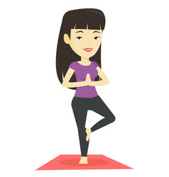 Young woman practicing yoga tree pose vector