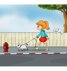 A girl strolling with her pet vector