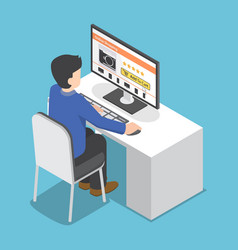 Isometric businessman use pc to shopping online vector