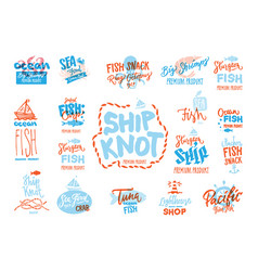 Sketch seafood premium logotypes set vector