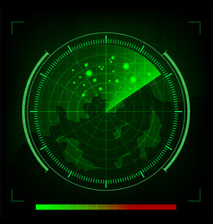 Green radar in searching on black background vector