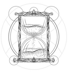 black and white of an hourglass vector image