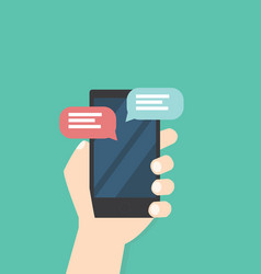 hand with phone chat message vector image
