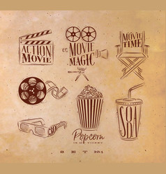 Cinema signs craft vector