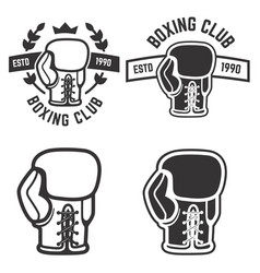 Set of boxing club emblems templates isolated on vector