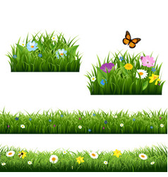 Summer flowers with butterfly vector