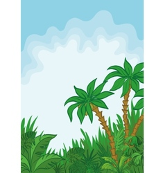 Exotic landscape palm and plants vector