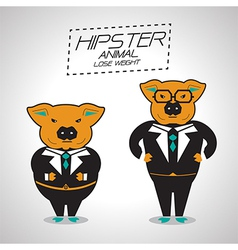 Lose weight pig businessman vector