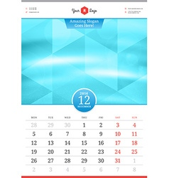 Wall calendar 2016 december template with abstract vector