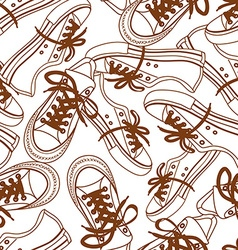 Seamless pattern of sneakers vector