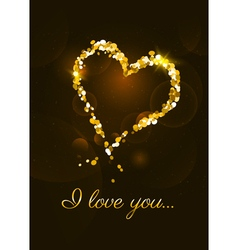 I love you card with heart made of golden glitte vector