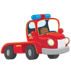 Funny red old-styled truck vector