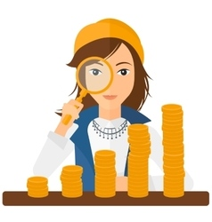 Woman with magnifier and golden coins vector