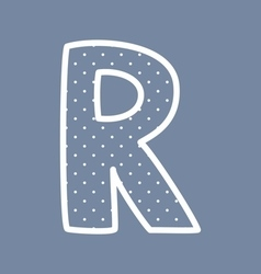 R alphabet letter with white polka dots on blue vector image