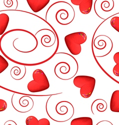 Red hearts and swirls on white background vector