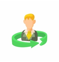 Replacement employee icon cartoon style vector