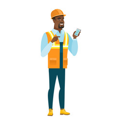 african-american builder holding a mobile phone vector image