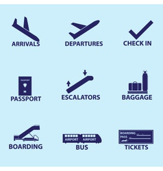 Airport signs icons eps10 vector