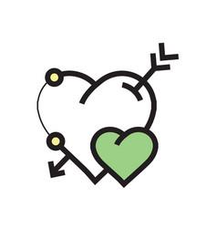 Arrow on heart icon green vector