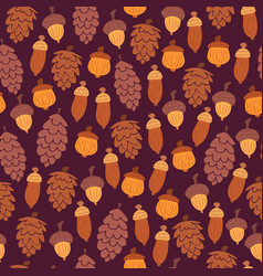 autumn pattern with cones and acorns vector image