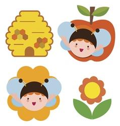 Bee babies set vector image