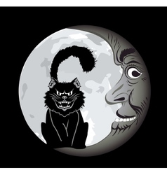 Black cat under the Moon vector image