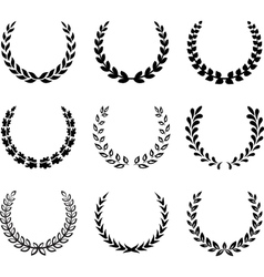 Black laurel wreaths set 2 vector