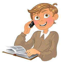 Blond boy and phone and book vector image