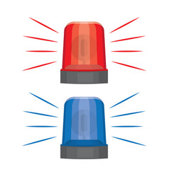 Blue and red flashing warning lights and sirens vector