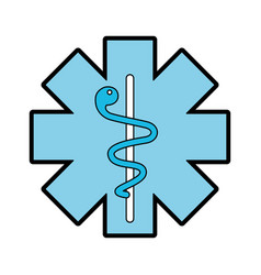 blue caduceus medical shield vector image