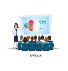 business seminar female speaker making vector image vector image