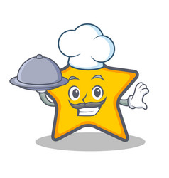 Chef star character cartoon style with food vector