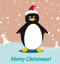 Christmas penguin illustration vector image vector image