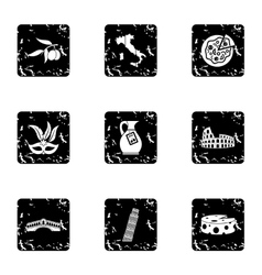 Country italy icons set grunge style vector