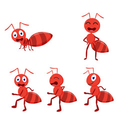 cute ant cartoon cartoon collection set vector image