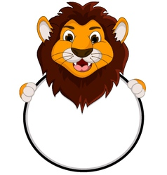 cute lion cartoon holding blank sign vector image