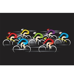 Cyclists racers on black background vector