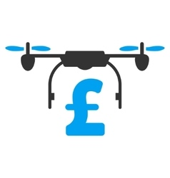 Drone Pound Business Flat Icon Symbol vector image vector image