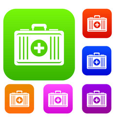 first aid set color collection vector image