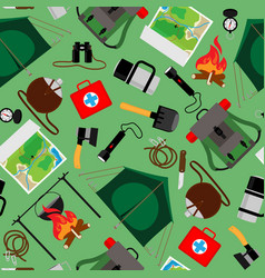 Forest camp seamless pattern tourist vector
